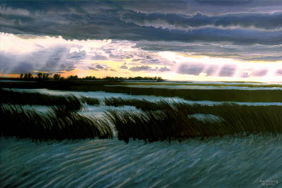 Stormy sky with rays shining on the windswept waters, reeds blowing in the wind