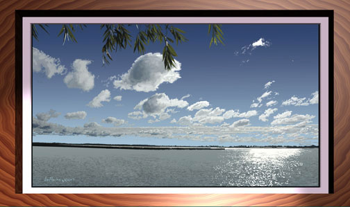 Framed scene of sunlight on water, leaves, bright sky with puffy clouds