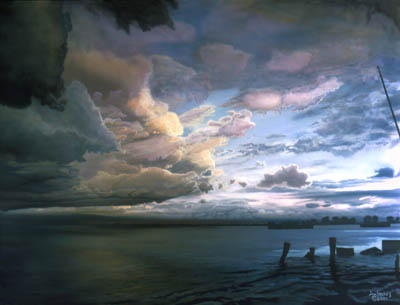 Storm clouds half lit by sundown over lake, old posts along the shore