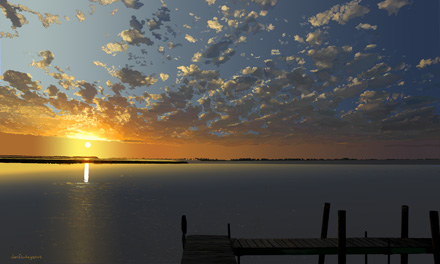 sunup water dock clouds sweeping across the sky