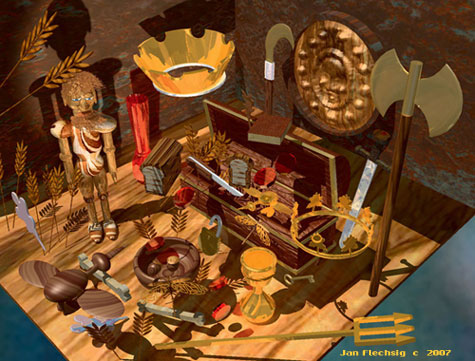 Tabletop covered with mementos,wooden trunk, bird,bowl,gold crown,battle axe,sheild on wall, weapons,chalice